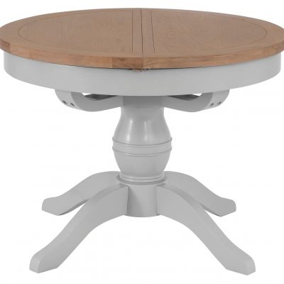 Berkshire Grey Painted Oak Round Extending Dining Table