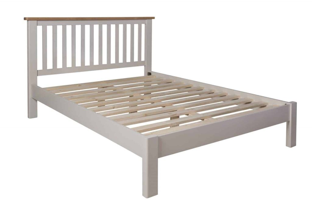 Bradford Stone Painted Oak 4'6 Double Size Bed Frame