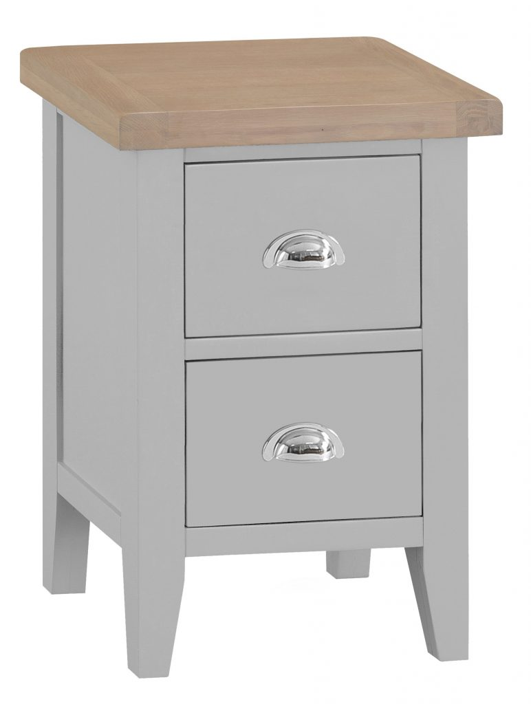 Berkshire Grey Painted Chunky Oak Small Bedside Cabinet
