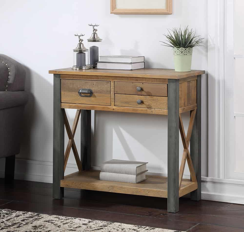 Baumhaus Urban Elegance Industrial Reclaimed Wood Small Console Table