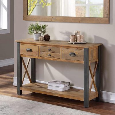 Baumhaus Urban Elegance Industrial Reclaimed Wood Large Console Table